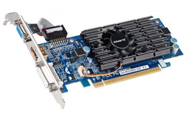 Видеокарта GIGABYTE GeForce 210 590Mhz PCI-E 2.0 1024Mb 1200Mhz 64 bit DVI HDMI HDCP