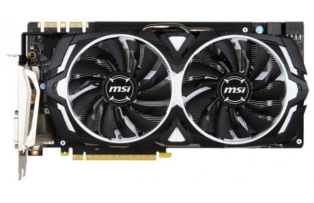 Видеокарта MSI GeForce GTX 1080 ARMOR OC 1657Mhz PCI-E 3.0 8192Mb 10010Mhz 256 bit DVI HDMI HDCP